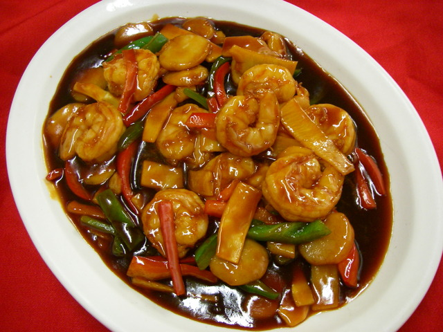 Shrimp scallops hunan style reunion chinese restaurant What is style