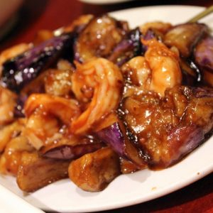 Shrimp w. Chinese Eggplant in Garlic Sauce